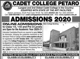 Cadet College Petaro Admission 2020