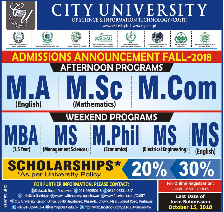 City University Peshawar Admission 2018 Form