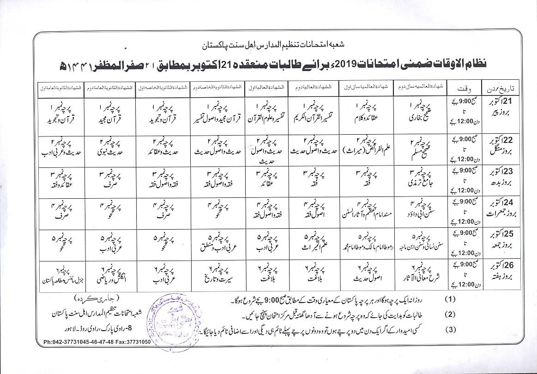 Tanzeem Ul Madaris Supplementary exams Date Sheet 2019