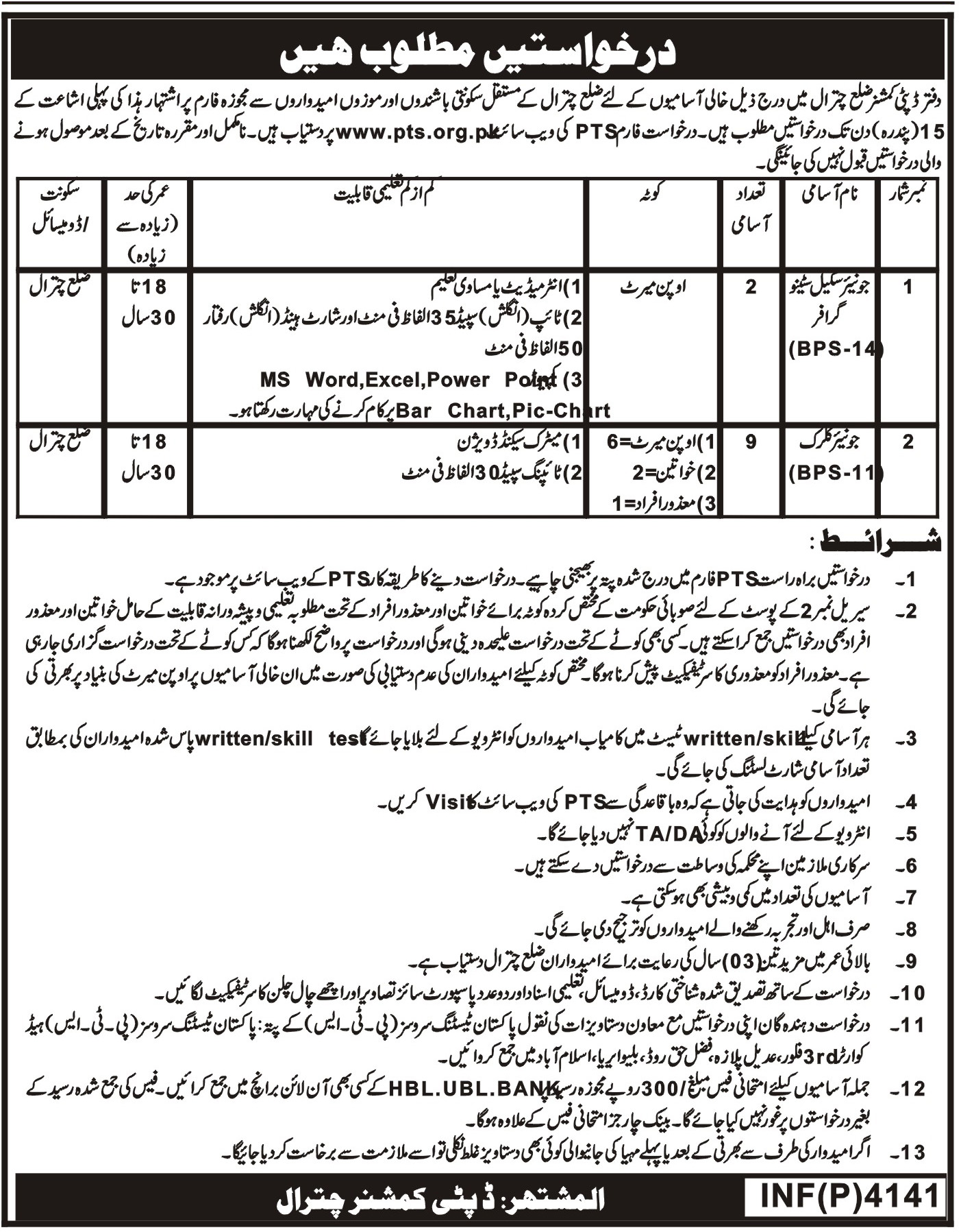 Deputy Commissioner Office Chitral Jobs
