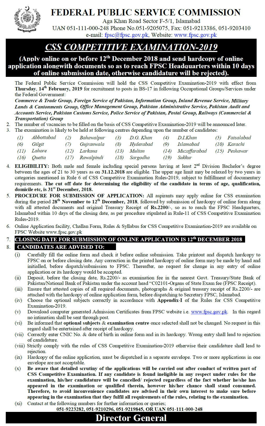 FPSC CSS Exam 2019 In Pakistan Advertisement