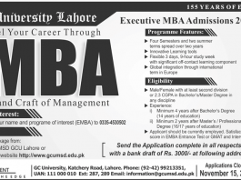 GC University Lahore MBA Executive Admission 2019 Form Download