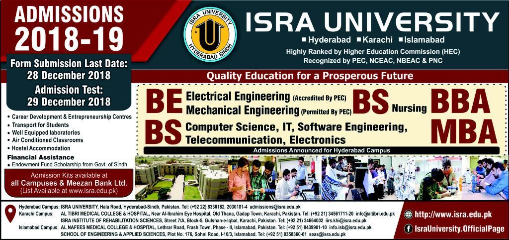 Isra University Admission 2019