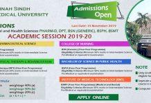 Jinnah Sindh Medical University Online Admission 2019-20 Form