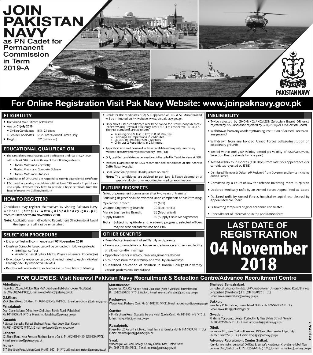 Join Pak Navy As PN Cadet Term 2019 A Permanent Commission