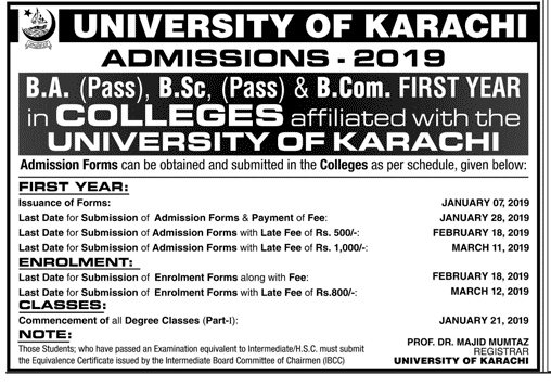 Karachi University BA, BSC, B.Com Admission Form 2019 Schedule