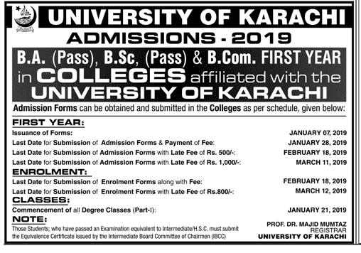 Karachi University BA, BSC, B.Com Admission Form 2019 Schedule