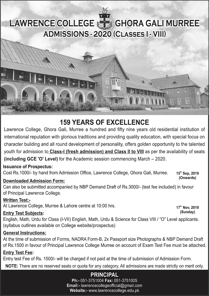 Lawrence College Murree Admissions 2020 Form