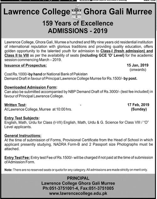 Lawrence College Murree Admission 2019 Form, Entry Test Result