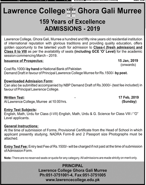 Lawrence College Murree Admission 2019 Form, Entry Test Result
