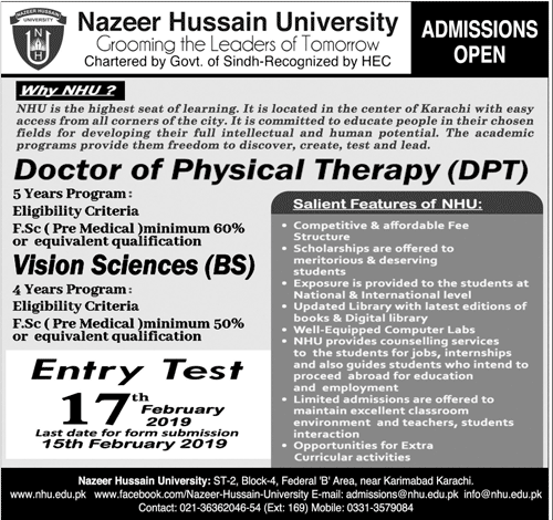 Nazeer Hussain University Karachi Admission 2019 Entry Test Result
