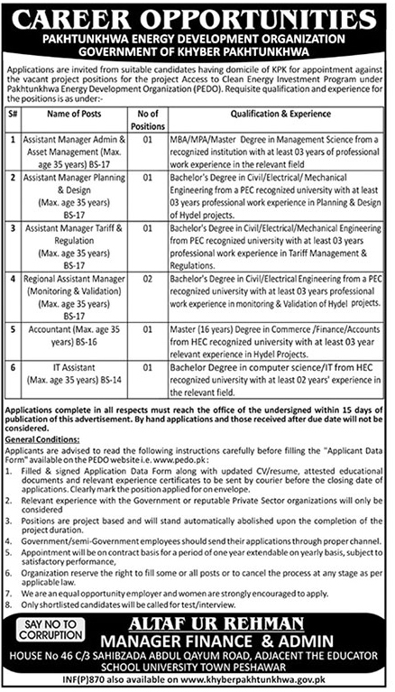 PEDO Jobs 2019 Pakhtunkhwa Energy Development Application Download