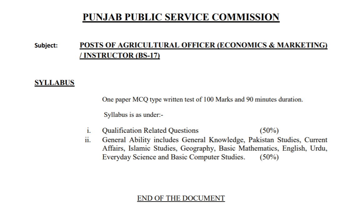 PPSC Agriculture Officer Jobs Syllabus