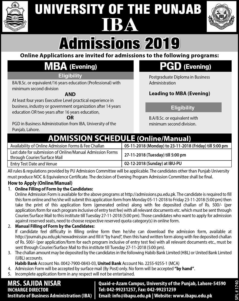 IBA Punjab University Lahore Admission 2019 MBA Evening Admission Form