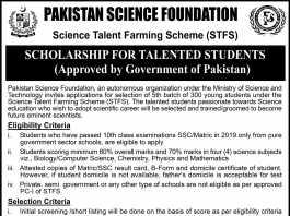 Pakistan Science Foundation PSF Scholarship 2020