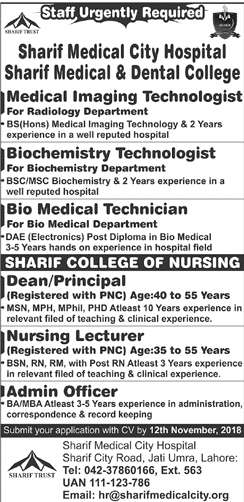 Sharif Medical City Hospital Jobs