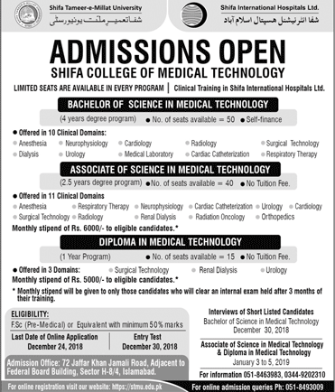 Shifa College Of Medical Technology Admission 2018