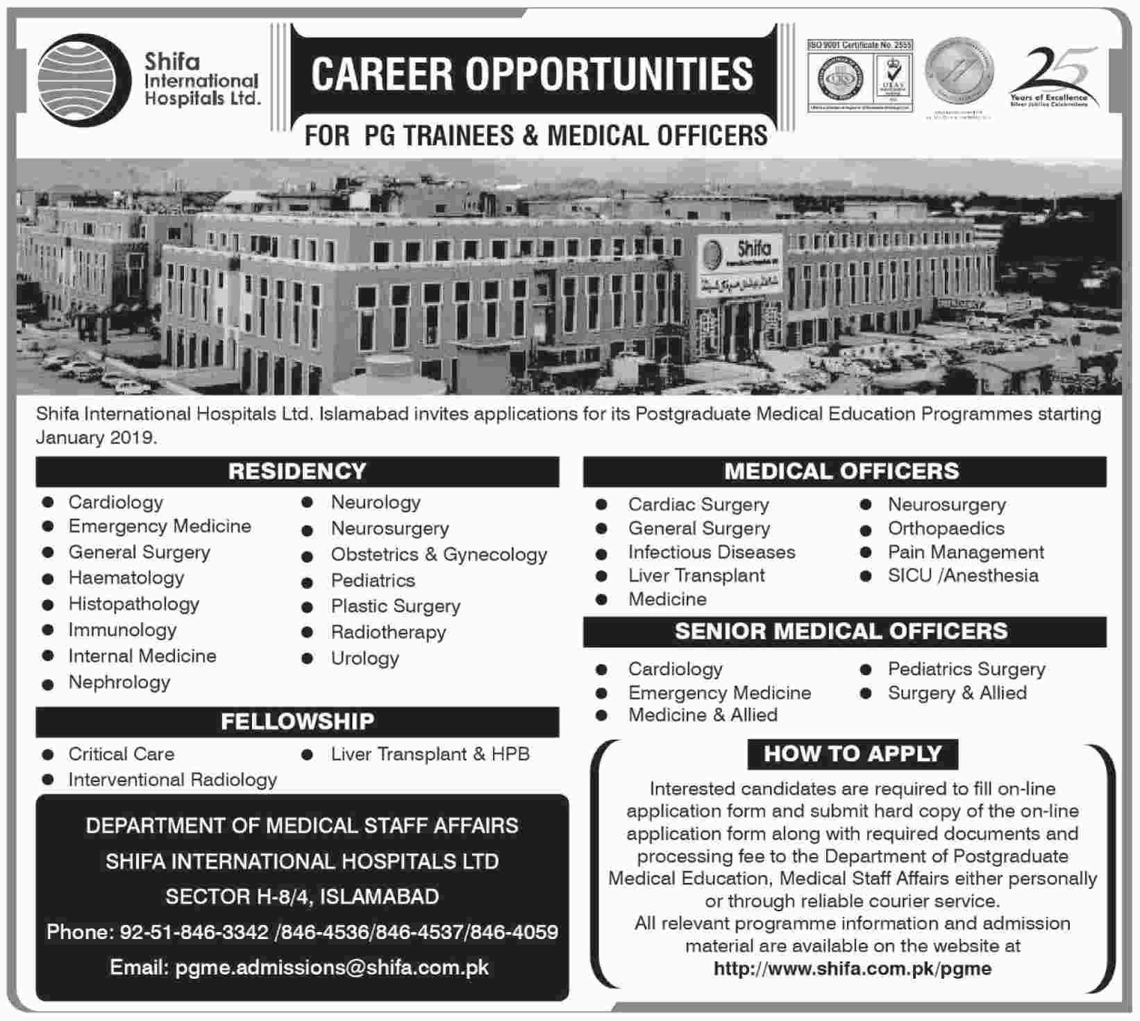 Shifa International Hospital Islamabad Jobs 2018