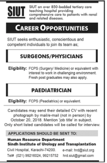Sindh Institute Of Urology And Transplantation Jobs 2018