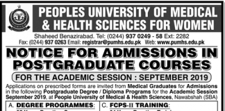 Peoples University PUMHS Postgraduate Admission 2019
