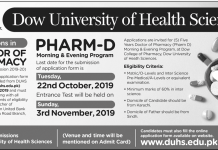Dow University Admission Pharm D 2019 Entry Test