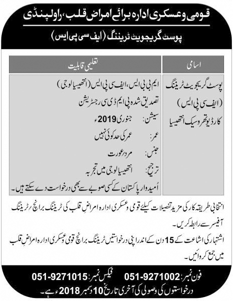 Armed Forces Institute Of Cardiology Rawalpindi Jobs