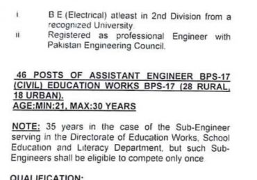 Assistant Engineer Jobs 2018 SPSC Advertisement Apply Online