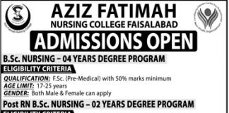 Aziz Fatimah Nursing College Faisalabad Admission 2019