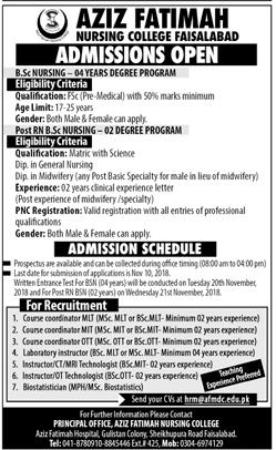 Aziz Fatimah Nursing College Faisalabad Admission