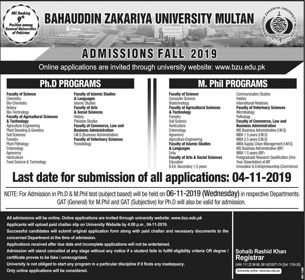 BZU Multan Mphil, Ph.D. Admissions Fall 2019 Form