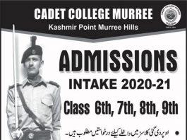 Cadet College Murree Admission 2020-21