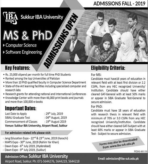 IBA Sukkur MS, PhD Admissions 2019 Entry Test Result, Merit List