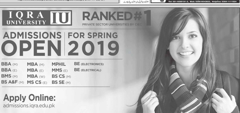 Iqra University Spring Admission 2019