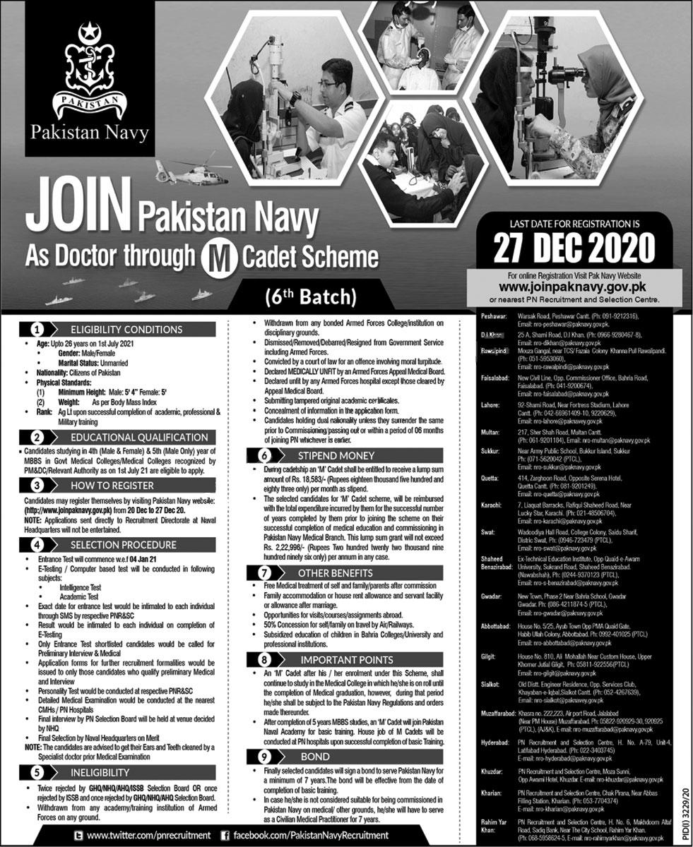 Join Pak Navy As Doctor Through M Cadet Scheme 2020-21 Online Registration