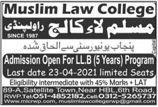 Muslim Law College Rawalpindi Admission 2021