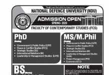 National Defence University NDU Islamabad Spring Admission 2020