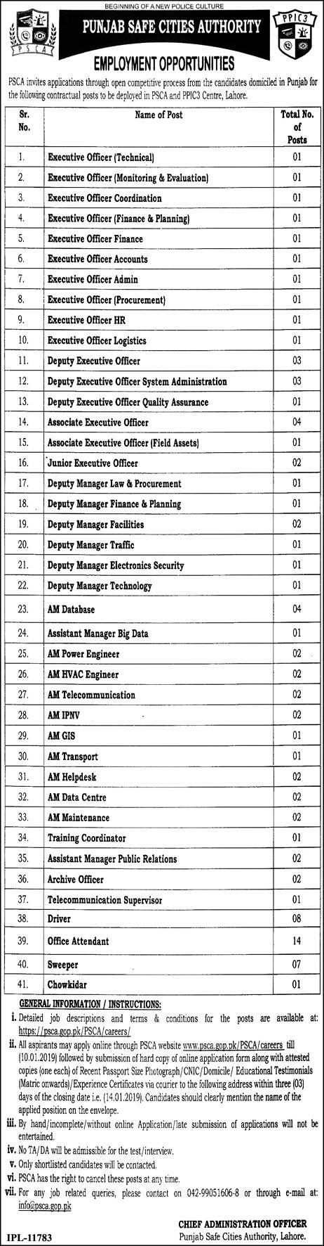 Punjab Safe Cities Authority PSCA Jobs 2019 Application Form