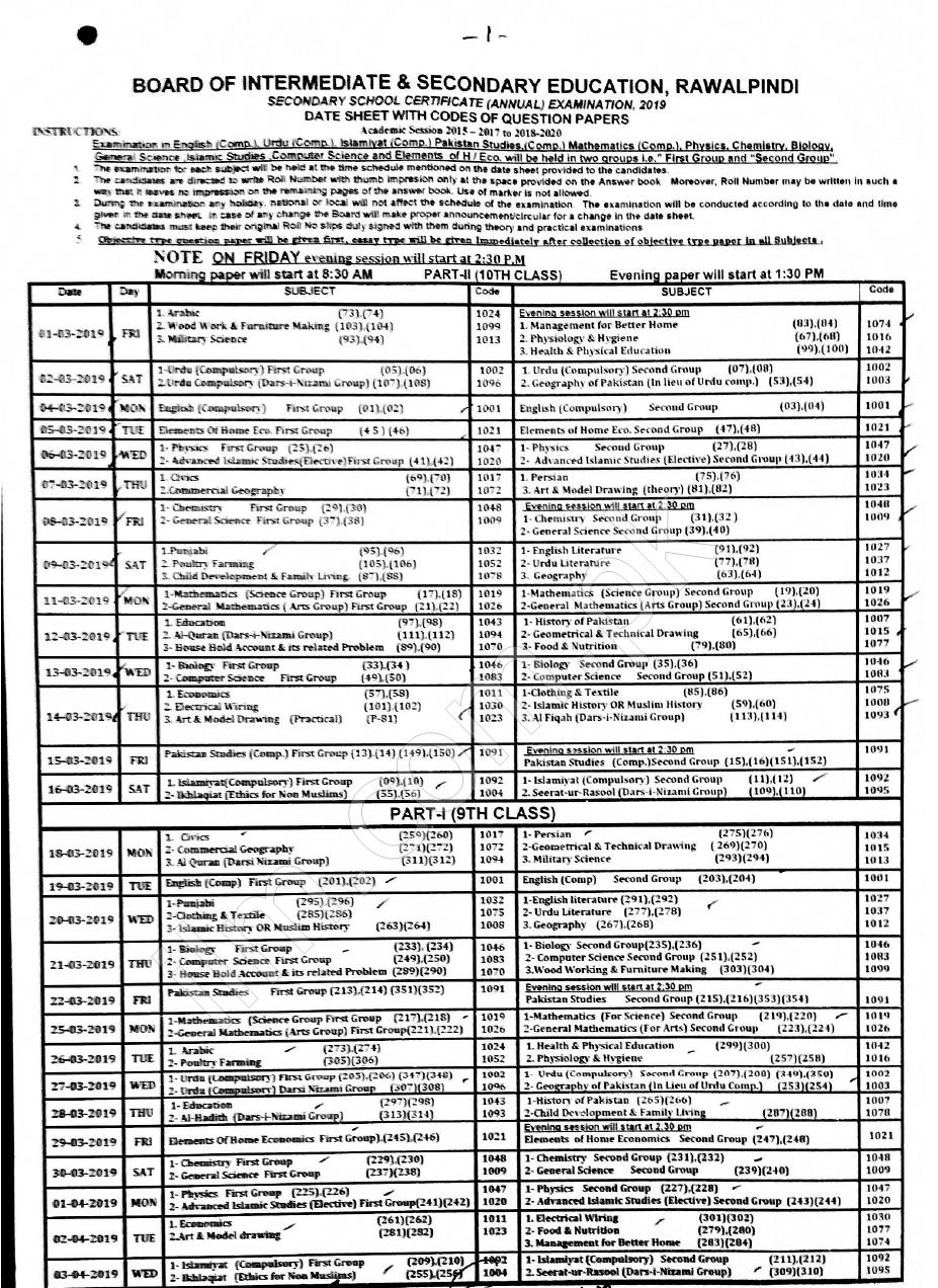BISE Rawalpindi Board Date Sheet 9th Class 2019
