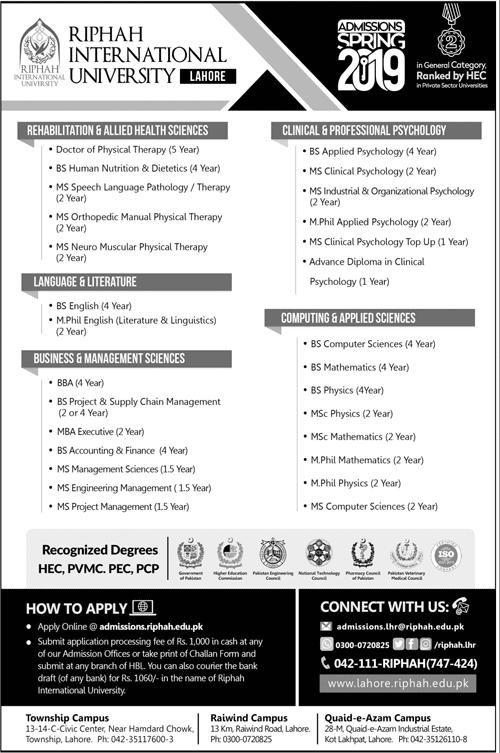 Riphah International University Spring Admission 2019