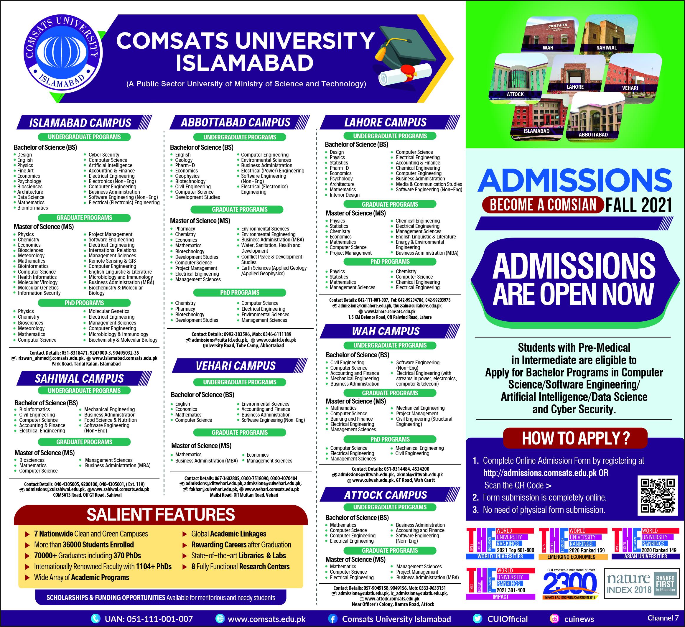 Comsats University Lahore Admission 2021