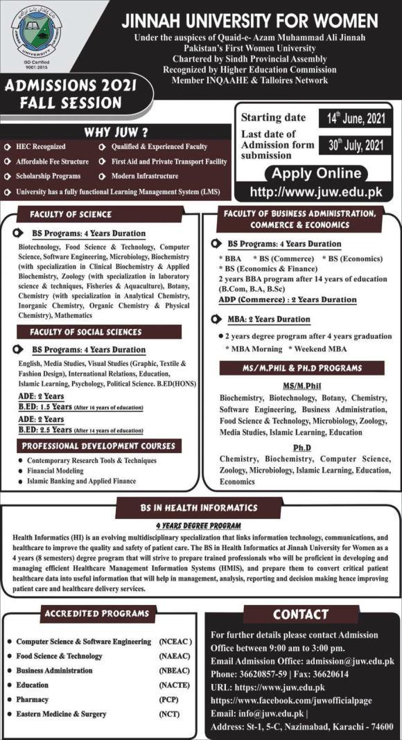 Jinnah University for Women Karachi Admissions 2021