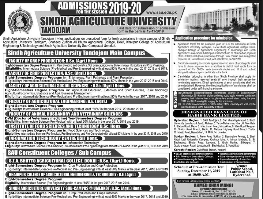 Sindh Agriculture University Tandojam Bachelor Admissions 2019-20