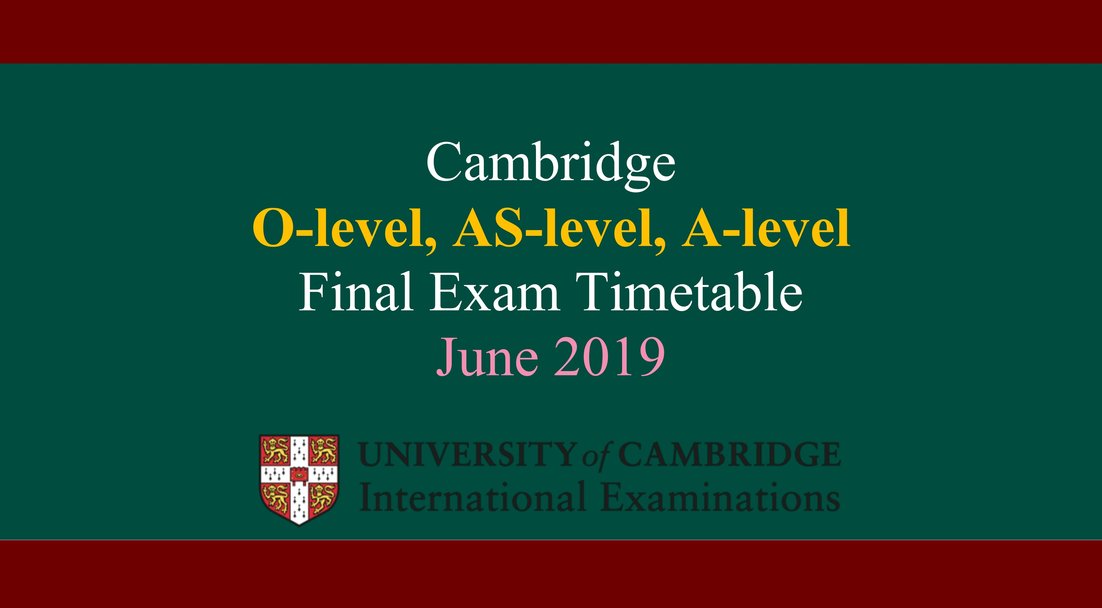 CAIE Timetable 2019 Pakistan May June