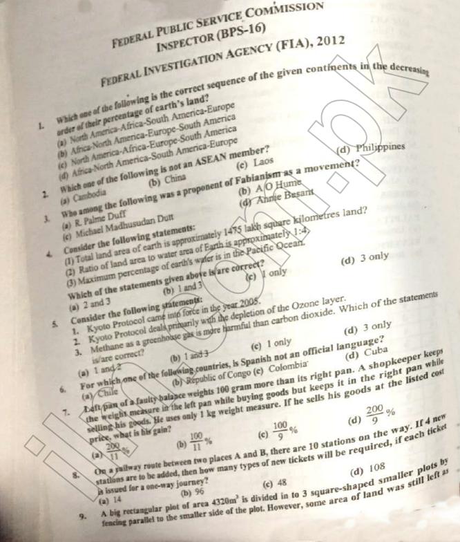 FPSC FIA Inspector Investigation Past Papers PDF Download