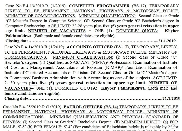 FPSC Motorway Police Jobs 2019 NHMP Application Form Online