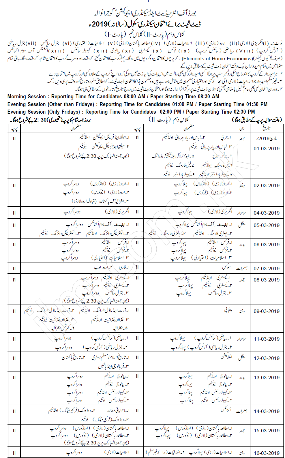 Gujranwala Board 10th Class Date Sheet 2019