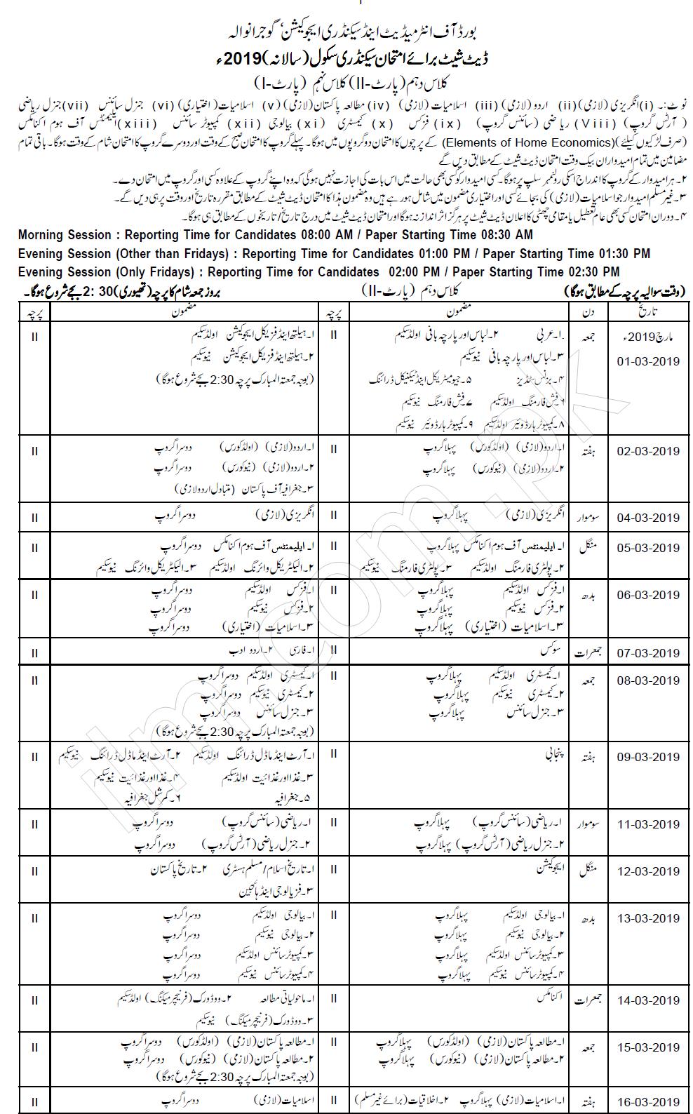 Gujranwala Board 10th Class Date Sheet 2019