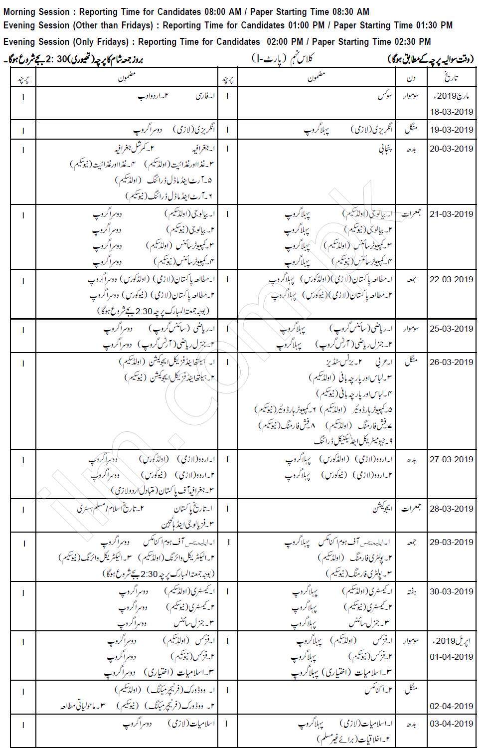 Gujranwala Board 9th Class Date Sheet 2019