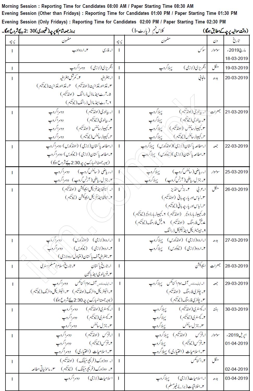 Gujranwala Board 9th Class Date Sheet 2019
