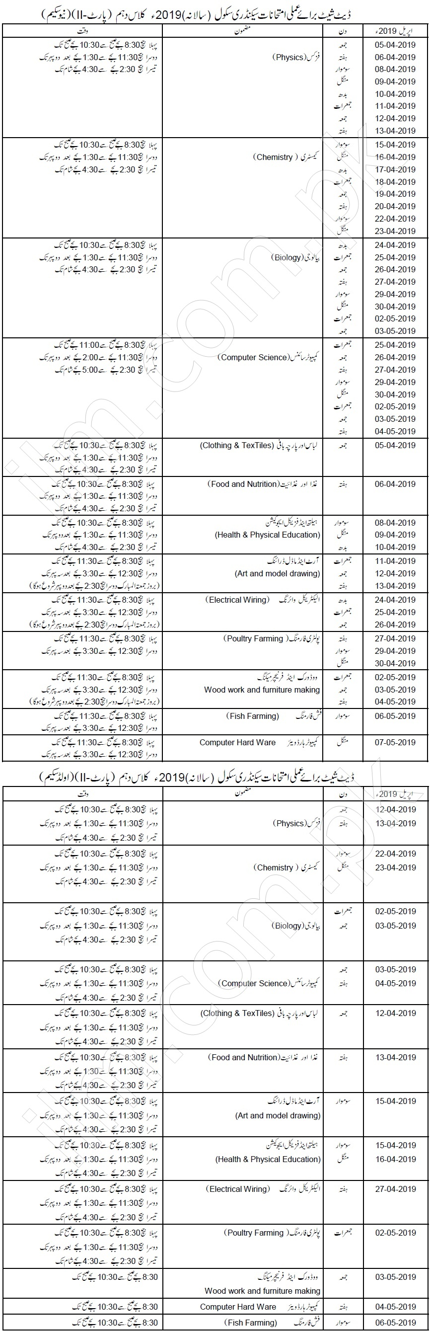 BISE Gujranwala Board Matric Date Sheet 2019 10th Class